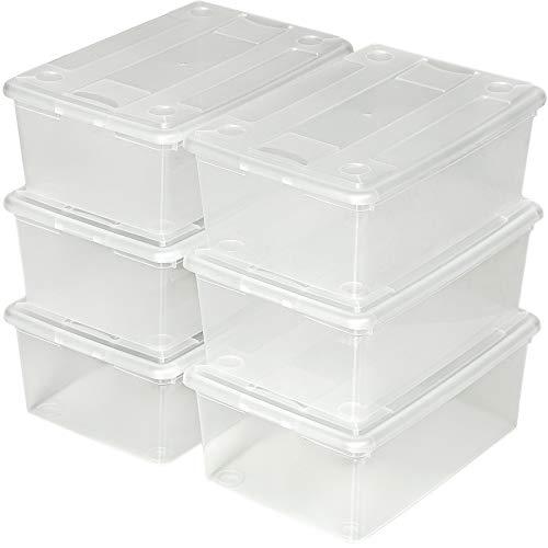 TecTake Schuhbox mit Deckel stapelbar transparent Aufbewahrungsbox | 33x23x12cm | - Diverse Mengen - (1x 6er Set | Nr. 401685)