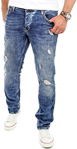 Reslad Jeans Herren Slim Fit I Stretch Jeans Hose Männer in Destroyed-Look I Riesenauswahl an Größen I Jeans in Blau Denim I RS-2069 Blau W33 / L32