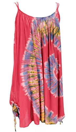 GURU SHOP Túnica batik de talla grande, vestido de playa, túnica para mujeres fuertes, color rojo, sintético, talla: 44, ropa corta, alternativa de ropa, rojo frambuesa, 46