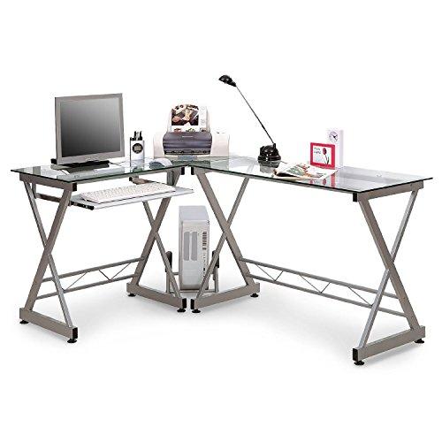 SixBros. Schreibtisch eckig, Arbeitstisch für Büro & Home Office, Eckschreibtisch aus Glas, 160 x 120 cm CT-3802/45