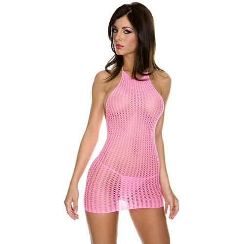 Mini jurkje met halter - Neon roze