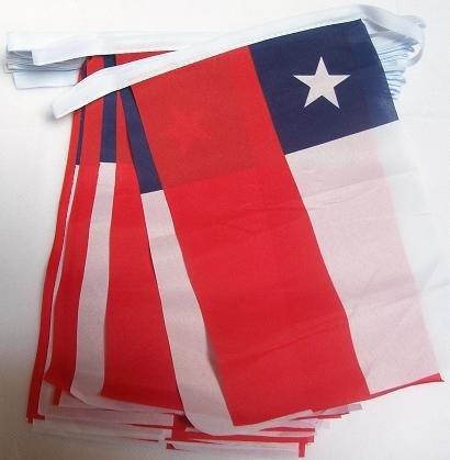 AZ FLAG FAHNENKETTE Chile 4 Meter mit 20 flaggen 15x10cm- CHILENISCHE Girlande Flaggenkette 10 x 15 cm