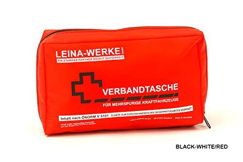 LEINAWERKE 30026 Verbandtasche ÖNORM V 5101 in Folientasche schwarz - weiß/rot, 10 Stk.