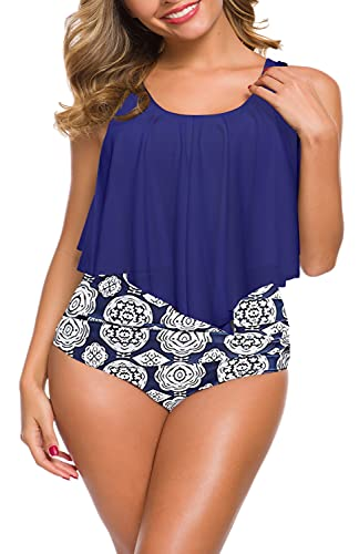 DUOSTICK MarinaPrime Swimsuits for Women Two Piece Plus Size Swimwear Adjustable Straps Sexy Swimsuits for Womens-XXX-Large, NavyBlue