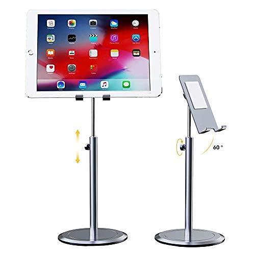 Soporte de para escritorio aleación de aluminio ángulo altura ajustable teléfono Tablet carga Dock a teléfono teléfono/tableta/iPad/Kindle para el hogar cocina oficina escritorio (gris)