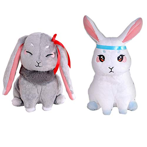 Huemny 2 piezas Mo Dao Zu Shi conejo peluche muñecas Grandmaster of Demonic Cultivation Wangji Wuxian conejo peluche muñecas