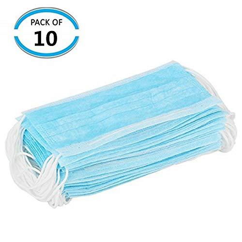 10X Einwegmaske Aktivkohle Maske Staub Mundmaske Mundschutzmaske Atemschutzmaske Hypoallergene Maske Atemschutz Medizinischer Mundschutz zum Schutz vor Bakterien, 3-lagig (10x)