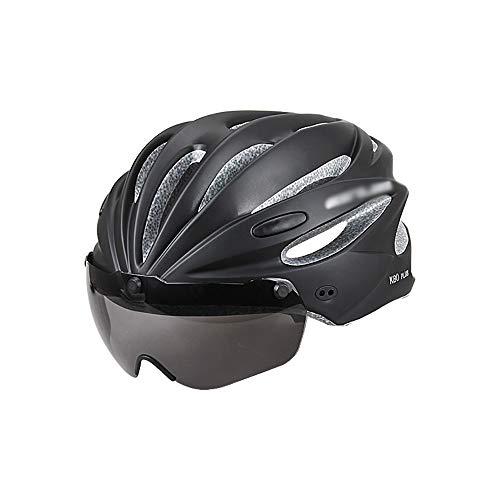 NBNBN Casco de Bicicleta MTB Gafas electromagnéticas Casco de una Bicicleta de montaña Equipada con una Lente integrada para Gorros Deportivos (Color : Gris, Size : 62cm)