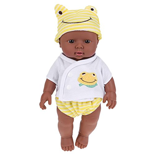 Domybest 30cm Bambola Reborn Bambola di Simulazione di Vinile Morbido di Pelle Nera Reborn Baby Doll Bambola Giocattolo Modello Bambolotto