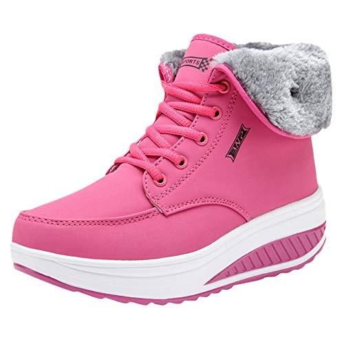 vermers Womens Sneakers - Ladies Leisure Plus Velvet Bottom Sport Shoes Wedges Thick Bottom Sneakers(US:8.5, Red)