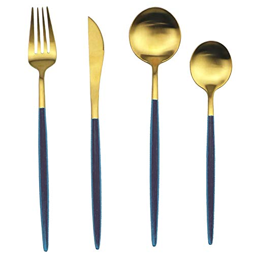 Comius Sharp Geschirr, Essmesser, Esslöffel, Gabel, Teelöffel, Besteckbesteck aus Edelstahl 18/10 (Dunkelgrün + Gold)