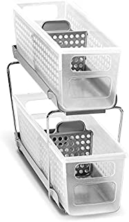 madesmart Mini 2 Two Tier Organizer, Frost-With Dividers