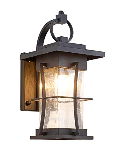 EERU Waterproof Outdoor Wall Sconce Light fixtures Exterior Wall Lantern Outside House Lamps Black Metal with Clear Seeded Glass, Perfect for Exterior Porch Patio House