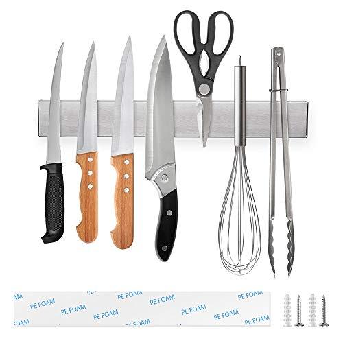 Ninonly Magnetischer Messerhalter Magnetleiste Messer Selbstklebend 30cm(12inch) Messerleiste Magnetisch Küche Extra Starker Magnet Messerleiste Ohne Bohren Messerhalter Magnetisch Wandmontage