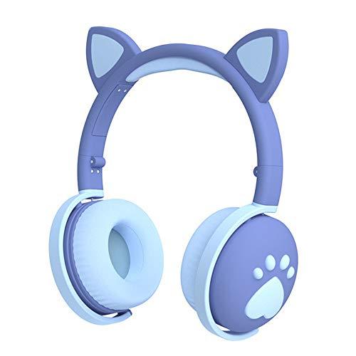 Monland Ear Headphones with Mic Kids Girl 5.0 Cute LED Light Noise Cancelling Blue Stereo Headset