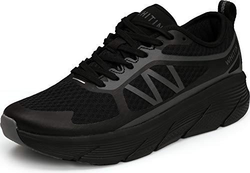 WHITIN Laufschuhe Herren Sportschuhe Straßenlaufschuhe Sneaker Joggingschuhe Turnschuhe Walkingschuhe Fitness Schuhe schnürer Mesh schnürschuhe Sommerschuh Dämpfung Schwarz 42 EU