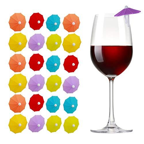 Geoyien Silikon Wein Marker, Weinglas Anhänger Charms Getränke Markierung Wiederverwendbare Glas Markierer für Bar Party Tischdekorationen, (24 Stück, zufällige Farben)