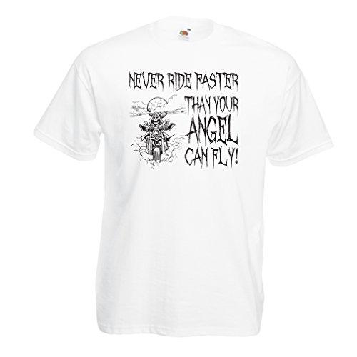 N4694 Männer T-Shirt Motorrad-Angebote (XX-Large Weiß Mehrfarben)