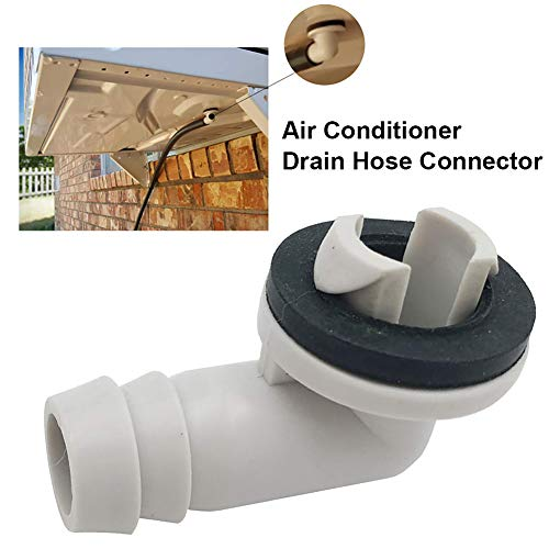 Ukallaite [Drain Hose Connector Plastic Air Conditioner AC Drain Hose Connector Elbow Fitting with Rubber Ring for Mini-Split Units and Window AC Unit White Grey