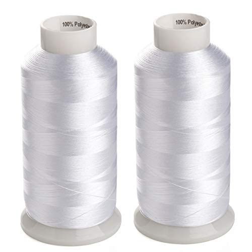 Simthreads 2 Huge Spools White Bobbin Fill Thread 60WT for Embroidery Machine and and Sewing Machines - 5500 Yards Ea