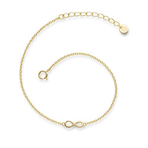 Glanzstücke München Damen-Armband Infinity Sterling Silber gelbvergoldet 17 + 3 cm - Silberkettchen Unendlichkeit Armkettchen Silber Freundschaftsarmbänder