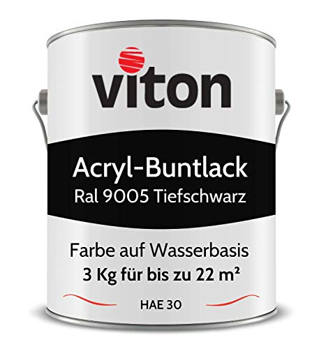Buntlack von Viton - 3 Kg Schwarz - Seidenmatt - Wetterfest für Außen und Innen - 2in1 Grundierung & Lack - HAE 30 - Nachhaltige Farbe auf Wasserbasis für Holz, Metall & Stein - RAL 9005 Tiefschwarz