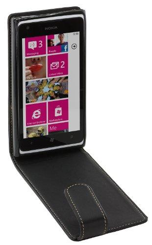 Works With Nokia Klapptasche aus Leder für Nokia Lumia 900 Alpha, schwarz