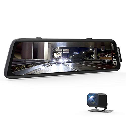 AUTO-VOX V5 Anti-Glare Mirror Dash Cam for Driving Safety, 9.35'' Full Laminated Ultrathin Touch Screen Rear View Mirror Camera, Dual 1080P Super Night Vision Backup Camera with Sony Sensor