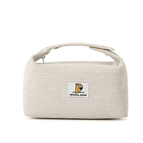 Dizdvizd Bolsas de Aseo para Mujeres y Niñas, Neceser de Viaje, Impermeable Organizador de Cosméticos - Beige