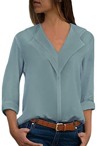 Aleumdr Bluse Damen v Ausschnitt Langarm Causal einfarbig Oberteil Shirt Freizeit Tunika mit Knopf Hemd Oberteile Loose Vintage Grau L