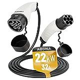 ABSINA Typ 2 Ladekabel Elektroauto - 22 kW | 32A | 5 Meter | Typ 2 Kabel zum Laden für Hybrid & E Auto an Ladesäule IEC62196-2 - Typ2 Elektrofahrzeug Ladekabel 3 phasig mit IP55