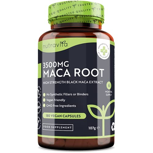 Maca Root Capsules 3500mg – 180 Vegan Capsules – High Strength Maca Root Extract – 6 Month Supply – Made in The UK by Nutravita