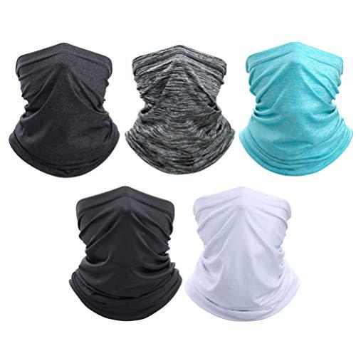 HEALLILY Nekbeschermer Gezicht Sjaal Bescherming Gezichtsmasker Outdoor Gezichtsmasker Verschillende Dragen Hoofdbanden Voor Mannen Vrouwen 5St