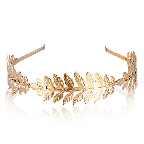 Cerceau de cheveux d'or avec le bandeau de décoration de feuille d'olive pour des femmes casque quotidien ou Party