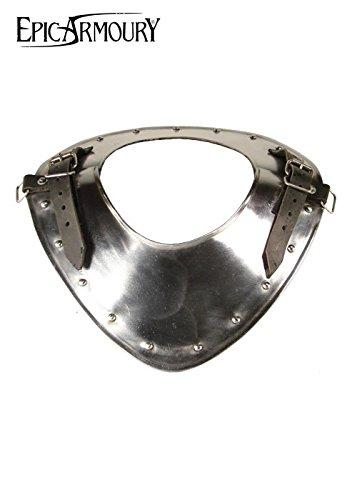 Epic Armoury Ringkragen Warrior aus Stahl Plattenschulterschutz LARP Mittelalter Schaukampf Wikinger Verschiedene Größen (M/L/XL)