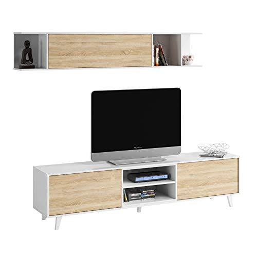 Mueble de salón, Comedor, Módulo TV + Estante, Modelo Zaiken Plus, Color Blanco Brillo y Roble Canadian, Medidas: 180 cm (Ancho) x 51 (Alto) x 41 cm (Fondo)