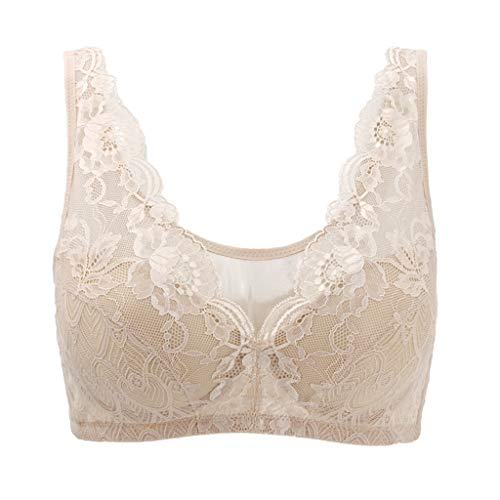 Women Floral Lace Bralette Padded Breathable Sexy Racerback Lace Bra Closure Wire-Free Bra Beige