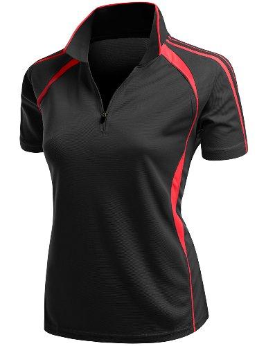 Coolmax 2 Tone Collar Zipup Polo T-Shirt Black Size L