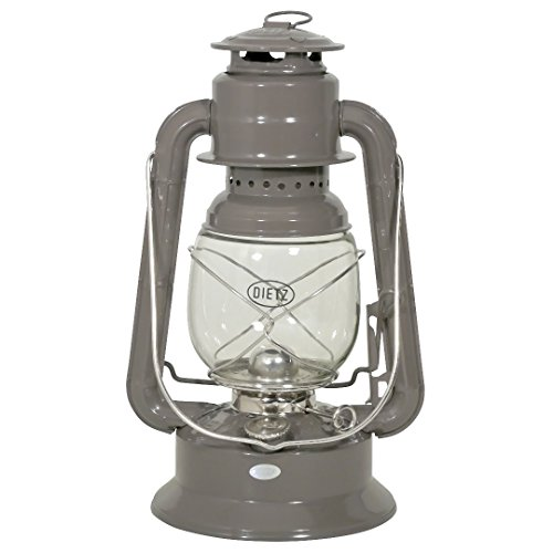 Dietz Original Sturmlaternen-Set große Wizard Petroleumlampe, elegantgrau pulverbeschichtet, Höhe 292 mm, mit 1 Liter Petroleum und Docht
