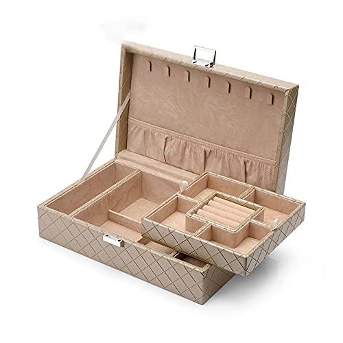 Caja de joyería Caja De Joyería, Caja De Almacenamiento De Joyas De 2 Capas, Pantalla De Cuero PU Soporte De Joya con Bandeja Extraíble para Collar Pendientes Pulseras Pulseras Caso Organizador