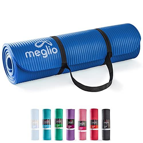 Meglio Yoga Mat - 10mm - Large Spongy Non-Slip Exercise Mat - Fitness Support for Pilates,...