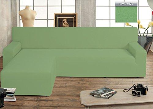 BIANCHERIAWEB Copridivano Genius con Penisola Chaise Longue Modello Swing Colore Verde Lime Sinistra Lime