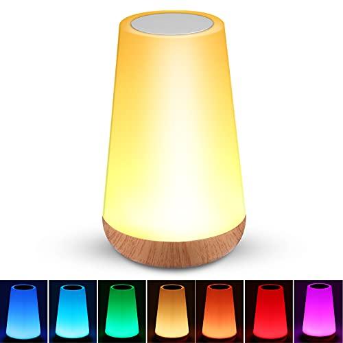 Touch Tischlampe, Dimmbar Nachttischlampe mit Warmweißem Licht, USB Aufladbar LED Nachtlicht mit RGB Farbwechsel, Tischlampen für Schlafzimmer Wohnzimmer und Büro