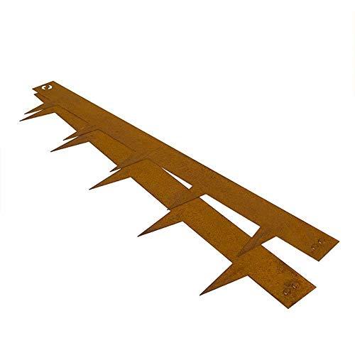 Rasenkante Multi-Edge Corten Stahl, ab 5 Stück/M, Qualität Beetumrandung Beeteinfassung Mähkante Wegbegrenzung flexibel und stabil, 1mx17,5cm