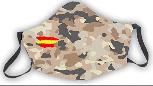 Mascarilla reutilizable bandera de España camuflaje marrón estampado...
