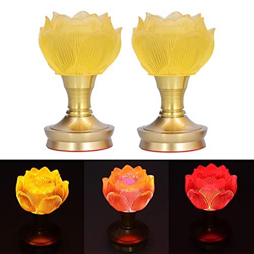 3 Farbanpassung Blumenlicht, Korrosionsschutz 2 Set LED Buddha Licht Buddhistische Lieferungen für Heimtextilien Handwerk Dekoration oder klassische Möbel Ornamente(100-240V)