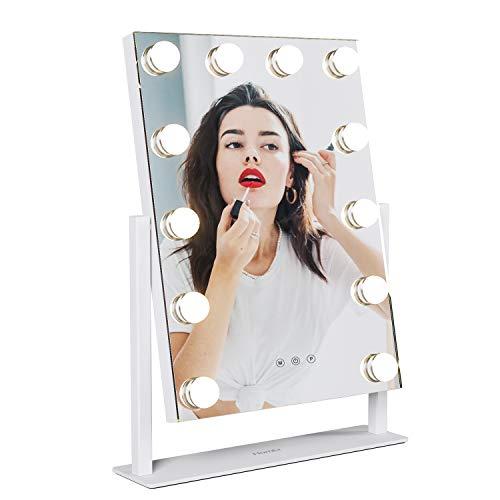 Homfa Espejo de Maquillaje Hollywood Espejo de Mesa con 3 Modos de Bombillas LED Interruptor tocable 41×30cm