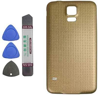 Upplus Tapa trasera compatible con Samsung Galaxy S5 G900 G900A G900P G900T G900V G900R4 G900F Gold