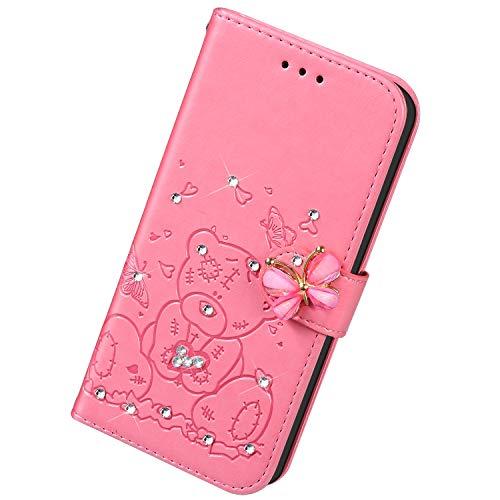 Uposao Kompatibel mit Samsung Galaxy S8 Plus Hülle Leder Schutzhülle Klapphülle Ledertasche Glitzer Diamant Strass Bling Blumen Bär Muster Flip Case Brieftasche Handyhülle Kartenfächer,Rosa
