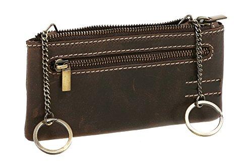 LEAS Schlüsseltasche extra groß mit 2 Ringen und Geschenkbox Echt-Leder, braun Vintage-Collection 15x8x1cm (BxHxT)